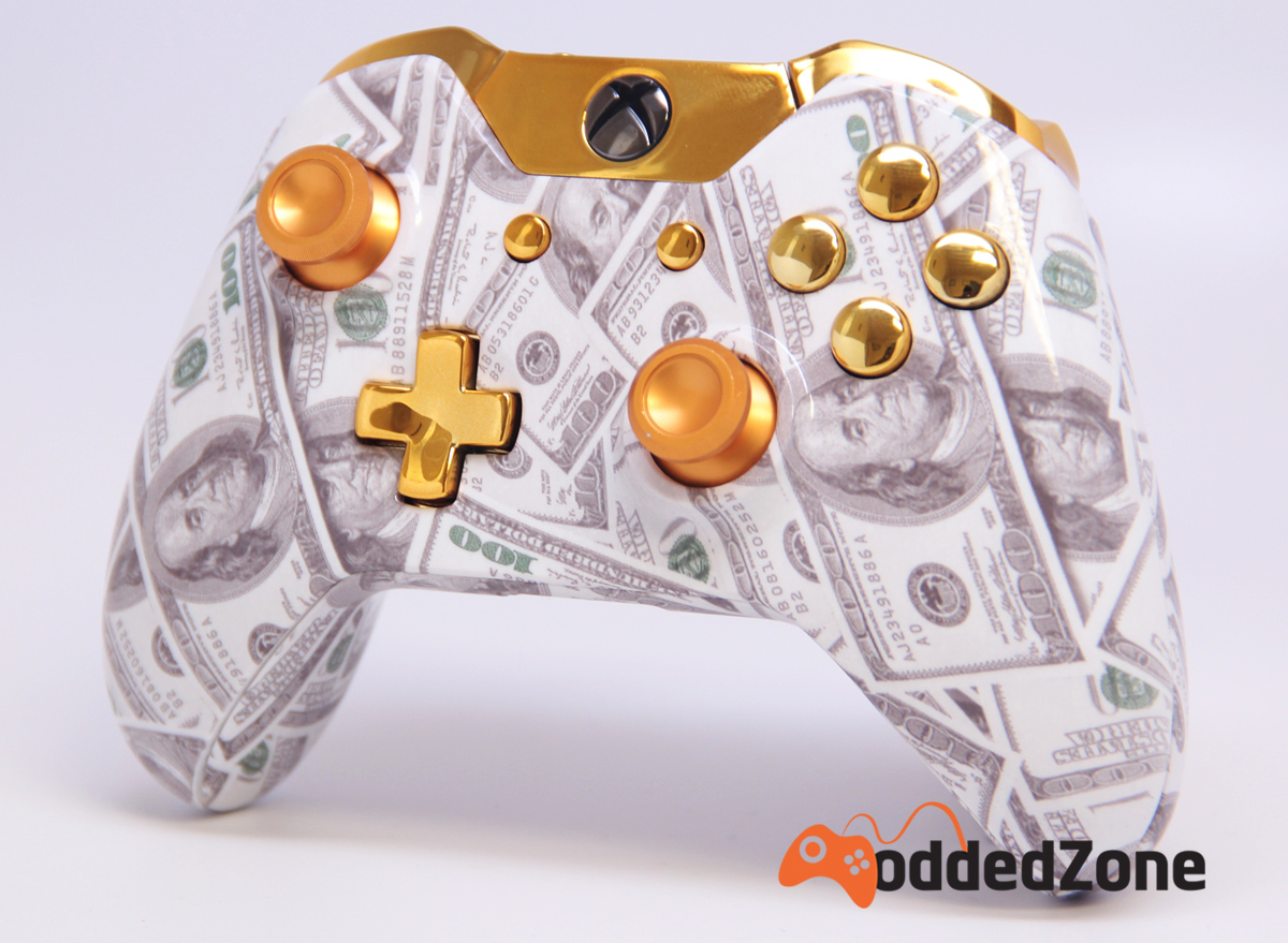 """GOLD MONEY"" XBOX ONE MODDED CONTROLLER Xbox 360 Controller Designs Gold"