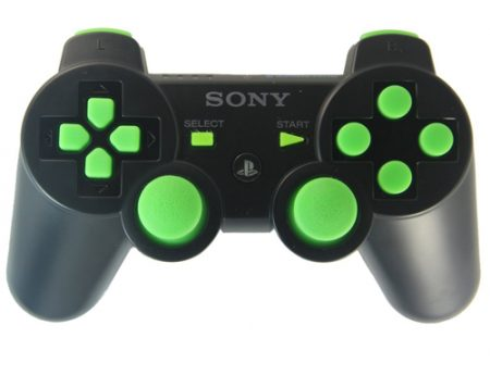 BLACK/GREEN PS3 MODDED CONTROLLER