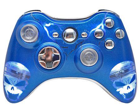 """ILLUMINATING BLUE SKULLS"" XBOX 360 MODDED CONTROLLER"